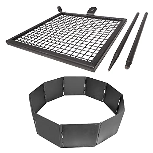 TITAN GREAT OUTDOORS Adjustable Swivel Grill, Steel Mesh Cooking Grate with Spike Pole, 40' Fire Pit Ring, Open Fire BBQ Camping Gear