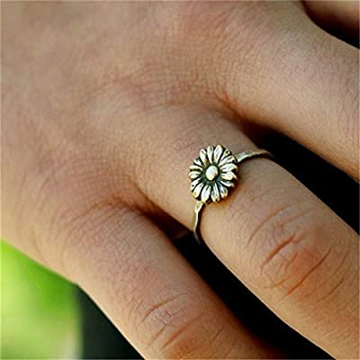 Retro Sunflower Ring Sterling Silver Delicate Sunflower Ring Bride Wedding Gifts Jewelry?Petal Ring Womens (Size 10)