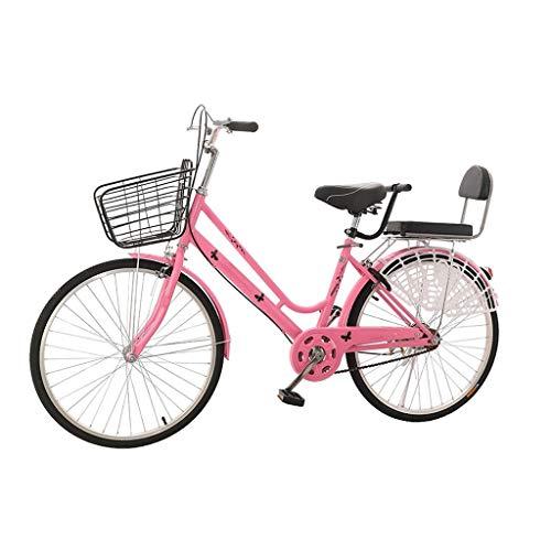 Bicicleta Bicicletas for Adultos, 24/26' Doble Amortiguador, Frame Acero De Alto Carbono, Estudiante De Ocio Juvenil Luz Unisex De Las Mujeres Y Hombre Commuters Portátil (Color : 26')