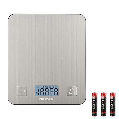 Balance Cuisine Electronique Balance Précision, Balance Numérique de Haute Précision 5kg/1g, Acier Inoxydable,Tactile Sensible Écran LCD Rétro-éclairé, Fonction de Tare, Auto-arrêt, avec 3 piles AAA