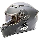 KIKTS Casco De Moto con Bluetooth, Manos Libres, Sin Ruido,
