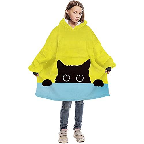 BYLESOYE Kids Blanket Hoodie Oversized Microfiber Wearable Blanket Super Warm Cat Fleece Blanket Sweatshirt with Pockets for Children Teen Boys Girls