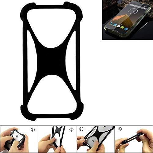 K-S-Trade® Handyhülle Für Blackview BV 5000 Schutz Hülle Silikon Bumper Cover Case Silikoncase TPU Softcase Schutzhülle Smartphone Stoßschutz, Schwarz (1x),