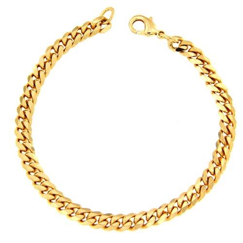 Panzerarmband Gold Doublé 10/000, 5,3 mm breit, 18 cm lang, Armband Herren-Armband Goldarmband Damen Geschenk Schmuck ab Fabrik Italien tendenze GGY5,3-18