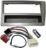AERZETIX - Kit de Montaje de Radio de Coche estándar - 1DIN - Marco, Cable Enchufe y adaptadores de Antena - Plata - C3680A