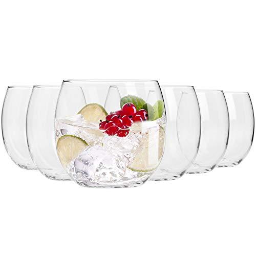 Krosno Wassergläser Saftgläser Tumbler Trinkgläser | Set von 6 | 410 ML | Perfekt für Zuhause, Restaurants und Partys | Spülmaschinenfest und Mikrowellengeeignet