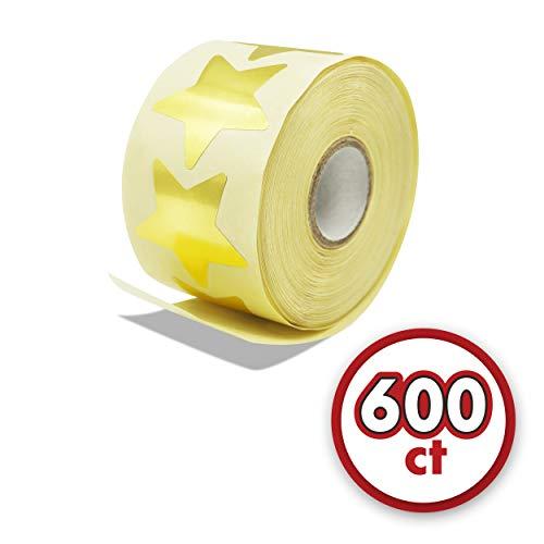 600 etiquetas adhesivas metálicas en forma de estrella dorada en rollo (cada una mide 3.8 cm de diámetro)