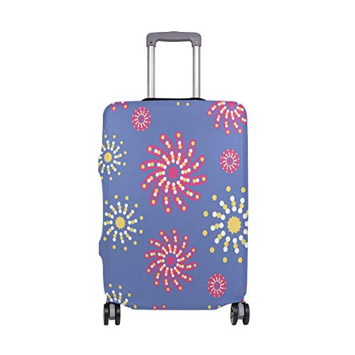 Luggage Cover Floral Print1 Suitcase Protector Baggage Fits 19-39 Inch,Size:L