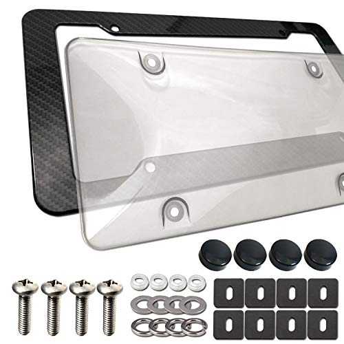 Aootf License Plate Frame Cover Kit- Clear Bubble License Plate Cover Shield & Plastic Carbon Fiber Car Tag Holder, Black Heavy Duty Unbreakable Novelty Protector, Mount Screws, Caps, Rattle Proof Pad