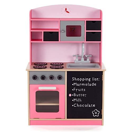 Baby Vivo Kinderküche Spielküche aus Holz Kinderspielküche Küche Holzküche Spielzeugküche mit Tafel - Mila in Rosa - 2