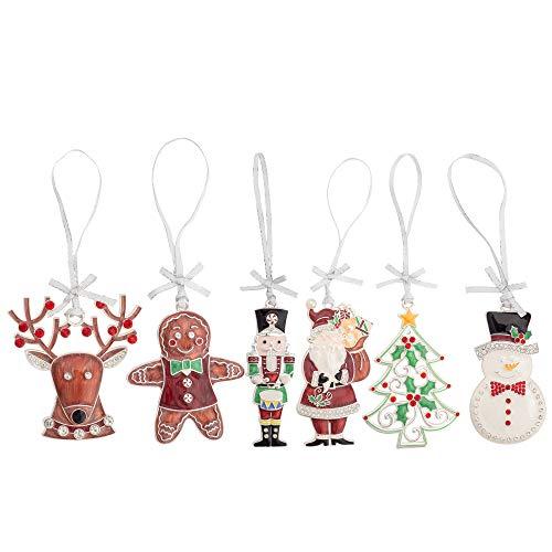 Renna Gingerbread Schiaccianoci Albero di Babbo Natale Pupazzo di Neve 3 x 2 Lega Ornamento Albero Decorativo Set 6