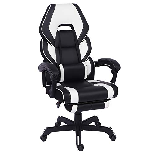 HWIN Gaming Chair with Footrest,Ergonomic Office Chair with Arms Reclining Executive Computer Desk Chair with Back and Lumbar Support Comfy PC Swivel Chair (White)