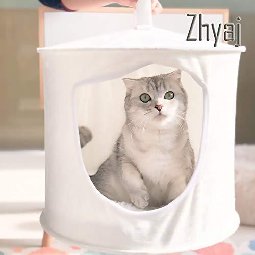 Zhyaj Katzenhängematte Sommer Frisch Katzenschaukel Mongolische Jurtenform Hängematte Einfach Zu Verstauen Falten Haustiernest Bett Durchmesser 38 × Hohe 32CM