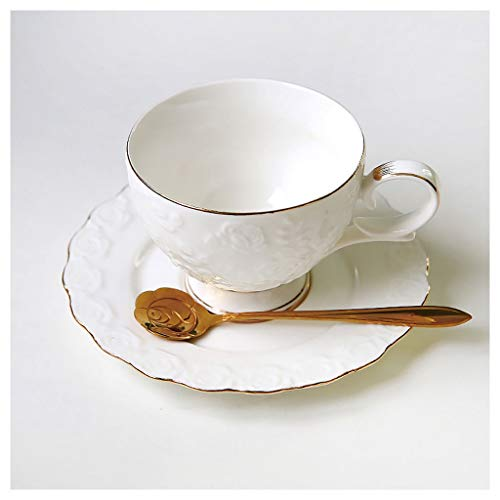 zxb-shop Ceramic Cup European Luxury Ceramic Coffee Cup and Saucer Set Exquisite Embossed English Afternoon Tea Cup Home Coffee Cup and Saucer with Spoon Tea Cup (Color : White)