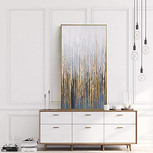 Large Wall Painting on Canvas Vertical Abstract Art Decorative Pictures for Living Room Wall lienzos Cuadros Decorativos Golden 50x100cm No Frame