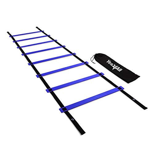 Yes4All Agility Ladder – Speed Agility Training Ladder with Carry Bag – 8 Rung (Blue)