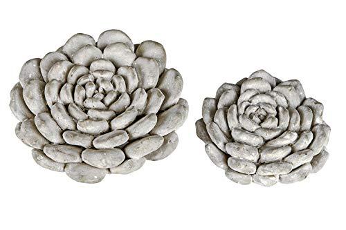 Formano 2er Set Deko Blüte Beton 9-11 cm Sukkulente Tischdekoration Blume Dekoration