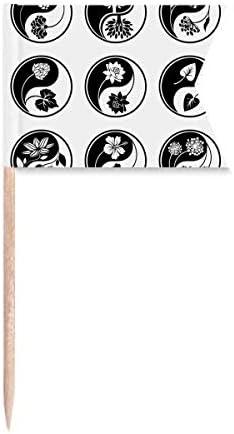 Cultuur Yinyang Bloem Ronde Ontwerp Tandenstoker Vlaggen Etikettering Markering voor Party Cake Eten Kaasplaat