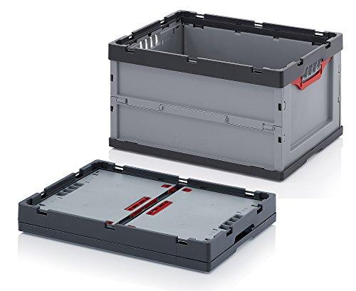 1x Faltbox mit Deckel Auer FDB 64/32 Kunststoffbox 60 x 40 x 32cm 67L | Klappbox mit Klappdeckel faltbar | Aufbewahrungsbehälter | Lagerbox stapelbar Lebensmittelkiste Vorratsbox Transportbox