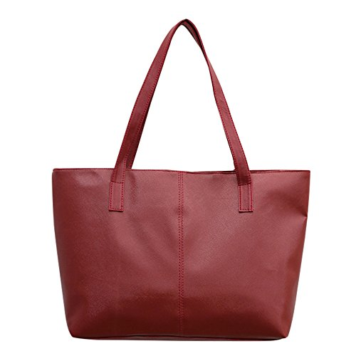 Vielgluck_Bag Faux Leather Tote for Women Diaper Bag Shoulder Bag Handbag Large Capacity Casual Bag Work Tote (Red)