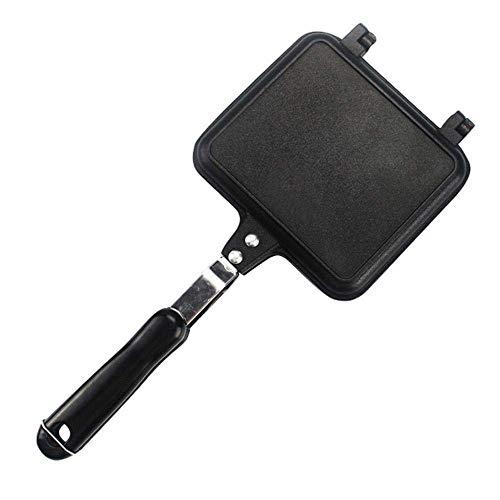 ZXL 34,5 * 15 cm pan sandwich schimmel dubbelzijdig barbecue koekenpan kookgerei dubbelzijdig pan steak koekenpan pannenkoeken buiten keuken pot benodigdheden, Zwart