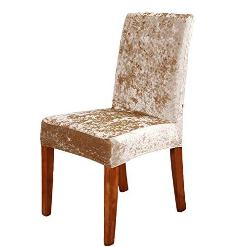 Superweiche Stretch-Stuhlbezüge, abnehmbarer Samt-Stuhlschutz, moderne Stretch-Stühle, Schutz (6, Champagner)