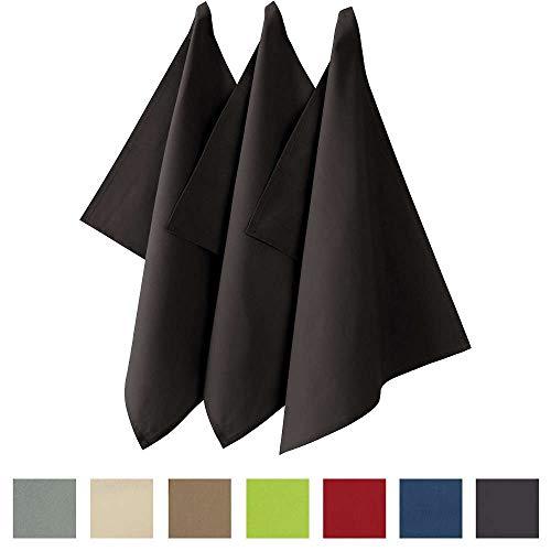 REDBEST Geschirrtuch, Küchentuch 3er-Pack Seattle, 100% Baumwolle anthrazit Größe 50x70 cm - saugstarke, strapazierfähige Qualität, mit Aufhängung (weitere Farben)
