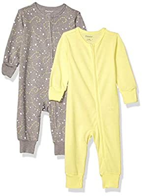Hanes Ultimate Baby Zippin 2 Pack Sleep and Play Suits, Yellow/Grey, 18-24 Months