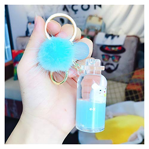 Xcwsmdq Keyring NEW Moving quicksand keychain cute Floating mouse key chain rat keychains Creative Bag Jewelry key ring Car pendant keyring gift (Color : NO.6 blue)