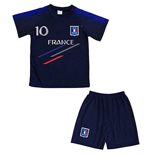Générique Ensemble de Sport Foot Maillot et Short de la France News Enfant - Bleu - 14 Ans