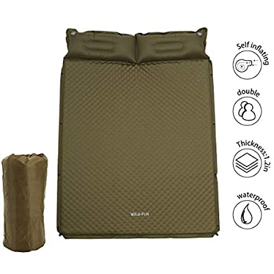 """WILD FUN 2 Person Double Self-Inflating Sleeping Pad with Pillow,Lightweight,75"""" x 52"""" Sleep Mat, Moisture-Proof Camping Pad, Perfect for Hiking & Backpacking (Olive Green)"""