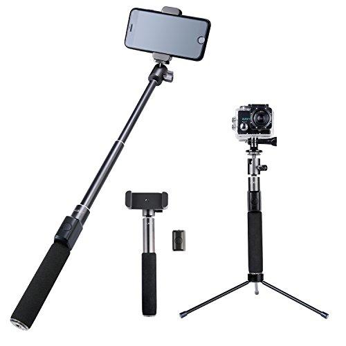 AUKEY Selfie Stick mit Stativ mit Bluetooth Fernauslöser für iPhone, Samsung, Kamera und GoPro (Aluminium, HD-P12)