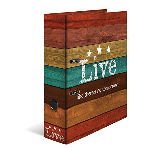HERMA Archivador de anillas con palanca Woody con motivo Live, A4, 70 mm, con estampado interior, 1 carpeta con motivos