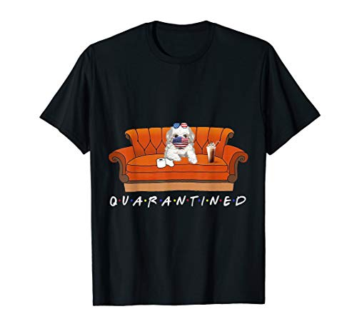 Quarantine With My Friend Maltese Dog Funny Gift T-Shirt