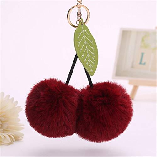 LEEDY Cute Cherry Leaves Keychain Pendant Women Key Ring Holder Pompoms Key Chains, Xmas Decor Baubles Pendant Ornament Decorations Accessories, 8CM