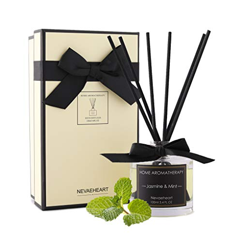 NEVAEHEART Reed Diffuser, Jasmine & Mint Scented Reed Diffuser Set, 3.4oz(100ml), Oil Diffuser Sticks, Home Fragrance Products, Fragrance Diffuser...