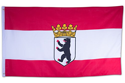 SCAMODA Bundes- und Länderflagge aus wetterfestem Material mit Metallösen (Berlin Bär) 150x90cm