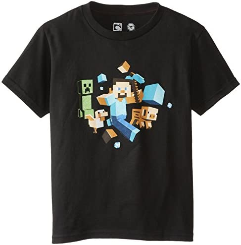 Minecraft Camiseta de Manga Corta para Niño - Run Away!