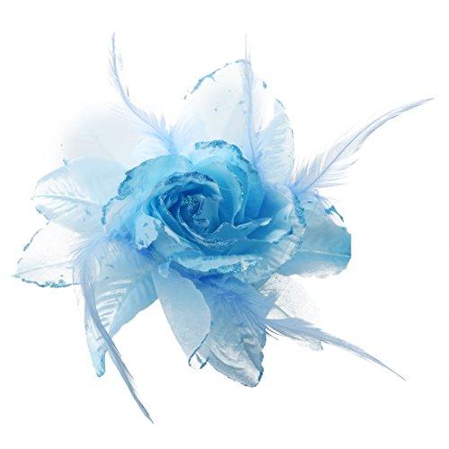SODIAL(R) 240x180mm Blu fiore della piuma Tessuti Spilla forcina per Deco donna abito da sera