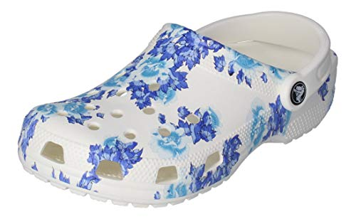 Crocs Unisex-Erwachsene Classic Printed Floral Clog Clogs, Weiß Blau, 41-42 EU