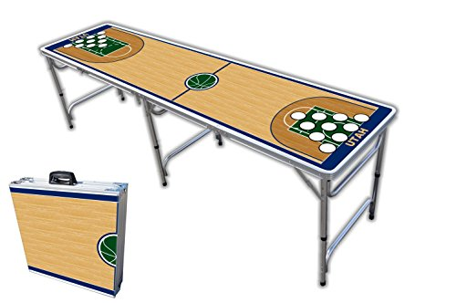 Purchase 8-Foot Professional Beer Pong Table w/Holes - Utah Basketball Court Graphic
