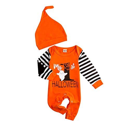 ADosdnn Imprime el traje de ropa para bebé recién nacido bebé niña niño trampas disfraz de Halloween ropa infantil rayas (color: naranja, talla: 60)