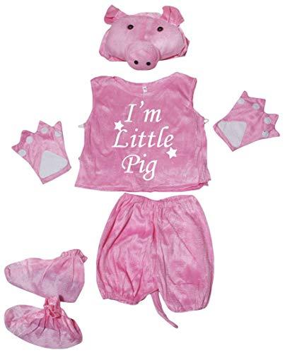 Petitebelle Little Animal Hat Camisa Cola Pantalones Zapatos 5pc Disfraz 4-8Y (Little Pig, 4-5year)