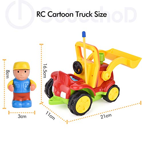 RC Auto kaufen Baufahrzeug Bild 4: Gotechod Ferngesteuerter Bagger, Cartoon RC Radlader mit Licht Musik Greifer, Spielzeugauto mit Fernbedienung für Kleinkind Kinder ab 2 Jahren*