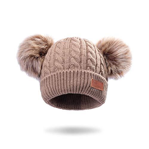 HIOD Niños Sombrero de Bebé Niños Pequeño Invierno Cálido Gorros de Lana Gorrita Tejida Pom Pom Gorro Niños 1-5 Años,Khaki