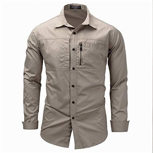 SEESEE.U Herren Langarmhemd Herren Einfarbiges Cargo Slim Fit Revershalshemd mit Reißverschlusstaschen (M-XXL) Für Party Business Work Tägliches Button-Down-Shirt (Farbe: Army Green, Größe: M)