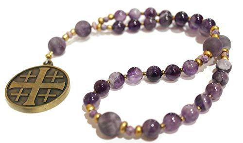 Genuine Amethyst, Heirloom Anglican Prayer Beads, Jerusalem Cross