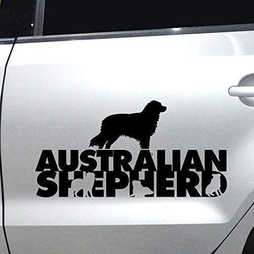 Autoaufkleber Sticker Autoaufkleber Australian Shepherd M1 Aufkleber Fürs Auto Sticker Hundesticker Schwarz 45x23cm Auto