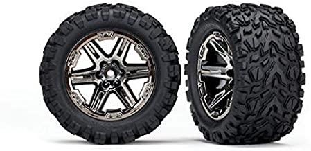 Traxxas 6773X - Rustler 4x4 Tires & Wheels, Assembled, glued (2.8') (RXT Black Chrome Wheels, Talon Extreme Tires, Foam Inserts) (2) (TSM Rated)