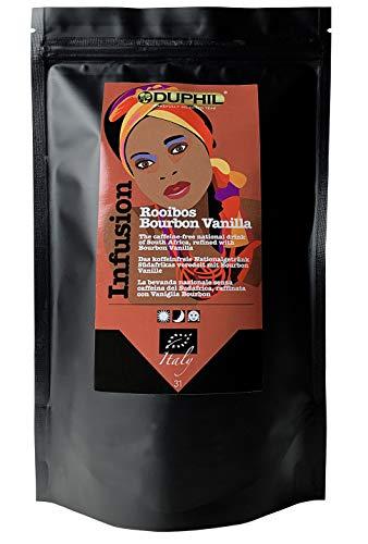 Duphil | Rooibos Tee Bio Kräutertee mit Bourbon Vanille aus Südafrika lose Rotbusch im Aromabeutel mit Zippverschluss | 200g